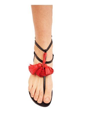 Leather sandals with red tassels Da Costanzo | 5032256 | NAPPINEALTONEROROSSO