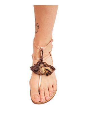 Rosy silver sandals with bronze tassels  Da Costanzo | 5032256 | NAPPINEALTOROSABRONZO