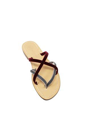 Capri sandals in bordeaux velvet with banded Da Costanzo | 5032256 | V2XBORDAZZ