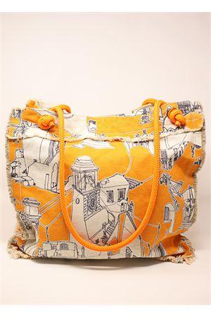 Oragne cotton bag with Capri pattern  Eco Capri | 31 | BBTCPRORNGARANCIONE