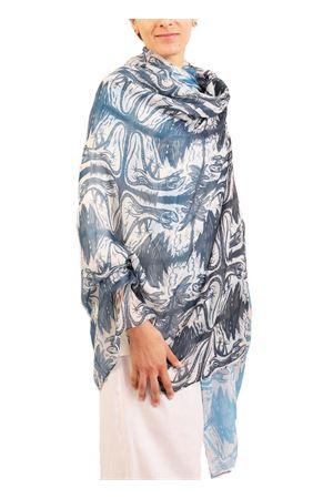 Scialle in cashmere lucertole danzanti Eco Capri | 77 | CSHLCRBLUSHBLUE