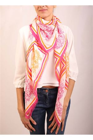 Cashmere and modal scarf with Piazzette rhapsody pattern  Eco Capri | 77 | MDLLP360OFFUCSIAORANGE