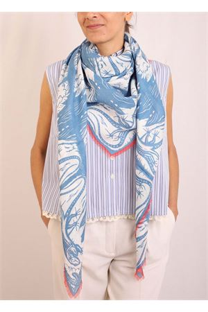 sciarpa lucertole blu in modal e seta Eco Capri | 77 | MDSLLCRBLUBLU