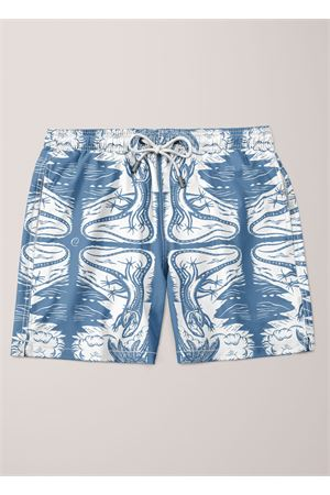 Dancing lizards pattern swim trunk for men  Eco Capri | 85 | MSWLCRBLUBLUE