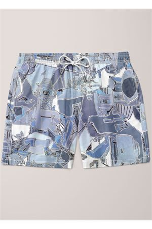 Swim trunk with Piazzetta of Capri pattern  Eco Capri | 85 | MSWPZZAZTONESBLU