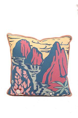 Cuscino in lino e cotone con Faraglioni ricamati Eco Capri | 20000025 | PLMBRFRGLNFARAGLIONI