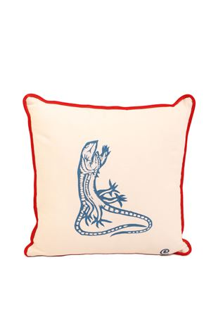 Hand embroidered cushion with blue dancing lizards Eco Capri | 20000025 | PLMBRLZRBLUBLUWHITERED