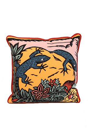 Cushion with Lizards completely hand embroidered Eco Capri | 20000025 | PLMBRLZRRCKMULTICOLOR
