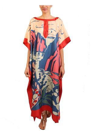 ampio caftano in seta con stampa faraglioni Eco Capri | 20000033 | W42LFRGLNFARAGLIONI