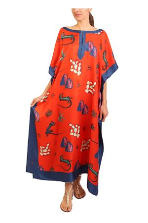 Silk caftan with blue Lizards print on a red base Eco Capri | 20000033 | W42LLZRTMTTOMATOENAVY