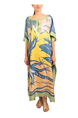 Silk kaftan with Dancing Lizards print Eco Capri | 20000033 | W42SLLCRCLRMULTICOLOR