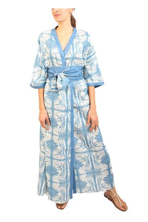 Pure linen kimono with dancing blue lizards Eco Capri | 5032262 | W53LNLCRBLUBLUMASHMALLOW