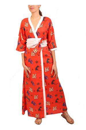 Kimono sartoriale con Lucertola azzurra di Capri Eco Capri | 20000033 | W53LNLZRTMTTOMATOEWHITE