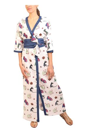 Pure linen kimono with Blue Lizard of Capri print Eco Capri | 5032262 | W53LNLZRWHTWHITENAVY