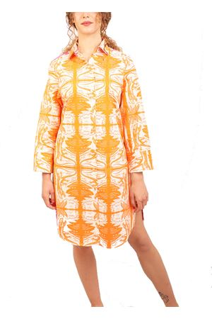 Cotton shirt dress with Dancing Lizards pattern Eco Capri | 20000033 | W60CLCROPNORANGEFRONTPINKBACK