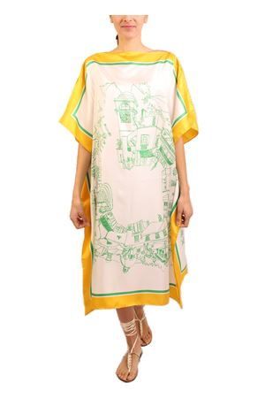 silk caftan with Capri pattern Eco Capri | 20000033 | WSLA1360GYWGREENYELLOW