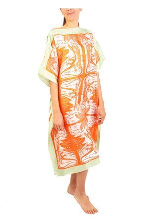 Caftani in seta con stampa di Lucertole danzanti Eco Capri | 20000033 | WSLA1LCRRNGDANCINGLIZ
