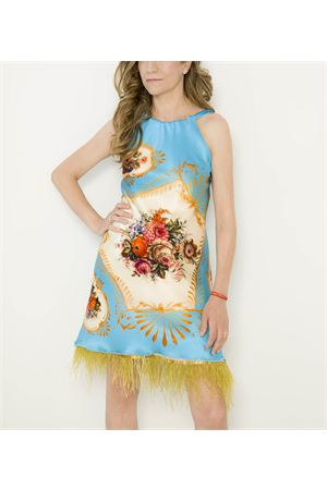 Mini dress in pure silk with feathers decoration  La Dolce Vista | 5032262 | MINIDRESSPIUMEFLOWERS