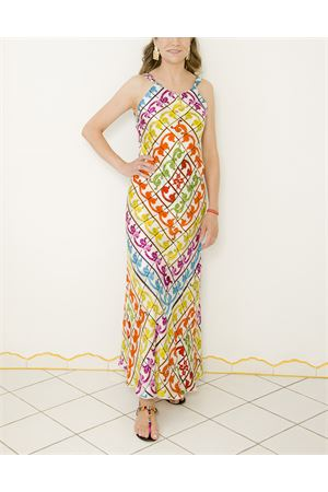 Long tailored dress with majolica pattern  La Dolce Vista | 5032262 | SEXANDTHECITYGIALLO