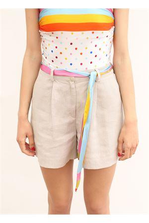 linen shorts with silk inserts La Dolce vista | 30 | SHORTLINOESETABEIGE