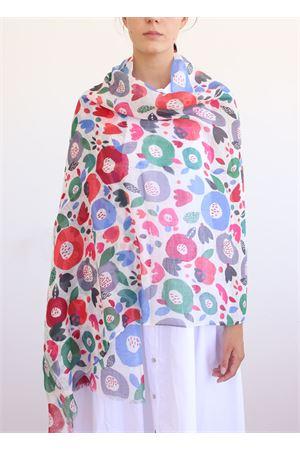 linen and cotton stole multicolor La Favola Continua | 61 | CERCHIFIORIBIANCO