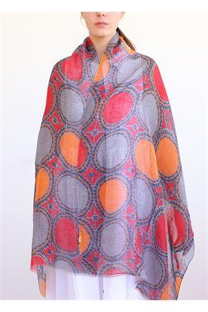 linen and cotton stole with color circles La Favola Continua | 61 | CIRCLESARANCIONE