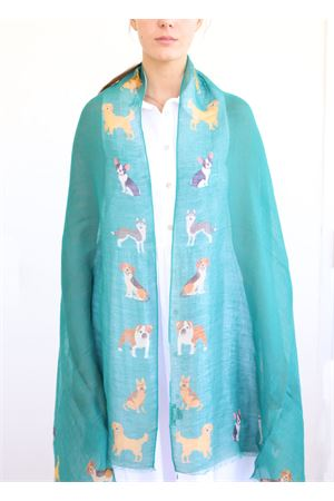 linen and cotton stole with dogs pattern La Favola Continua | 61 | DOGSVERDE