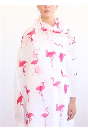 linen and cotton stole with pink flamingos La Favola Continua | 61 | FENICOTTERIROSABIANCO