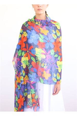 linen and cotton stole with big flowers La Favola Continua | 61 | FIORIBIGVIOLA