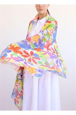 70% linen and 30% cotton stole with color flowers La Favola Continua | 61 | FIORIFOGLIEBIANCO