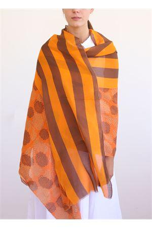 linen and cotton stole with orange geranium La Favola Continua | 61 | GERANIGRARANCIONE