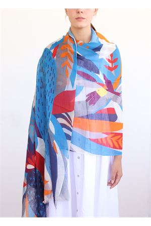 linen and cotton stole with water lily flowers La Favola Continua | 61 | NINFEAAZZURRO