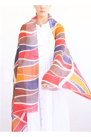 linen and cotton stole with geometric fantasy La Favola Continua | 61 | TRIANGLENEWROSSO