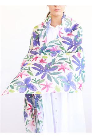 linen and cotton stole with violets  La Favola Continua | 61 | VIOLEVIOLA