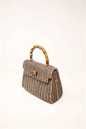 Dove grey woven wicker bag with bamboo handle  Laboratorio Capri | 31 | 110TORTORA