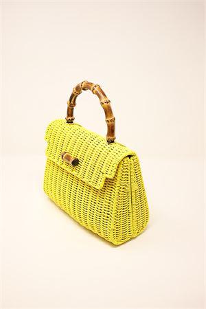 Yellow woven wicker bag with bamboo handle  Laboratorio Capri | 31 | 110YELLOW