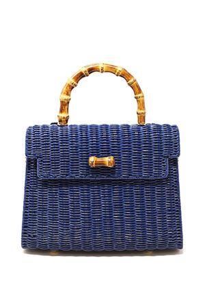 Bag in blue woven wicker with bamboo handle Laboratorio Capri | 31 | 115COBALTBLUE