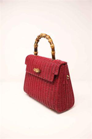 Bag in red woven wicker with bamboo handle Laboratorio Capri | 31 | 115ROSSO