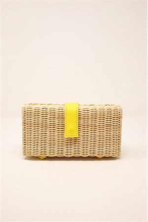 Clutch in midollino e pelle gialla stampata Laboratorio Capri | 31 | 171NATYELLOW