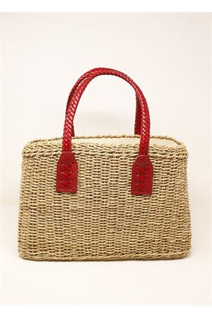 borsa in paglia con manici rossi Laboratorio Capri | 31 | 234CORDAROSSO