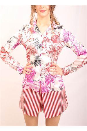 Blusa in seta stretch con fantasia a fiori Laboratorio Capri | 6 | BLUSABIANCO