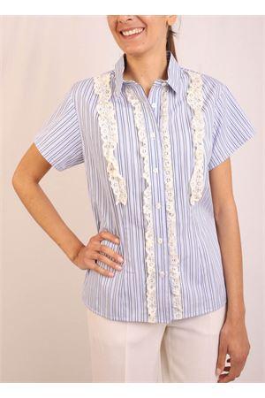 striped shirt with lace Laboratorio Capri | 6 | CATENAAZZURRO