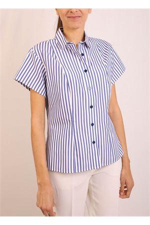 Camicia manica corta a righe bianche e blu Laboratorio Capri | 6 | CATENARIGAAZZURRA