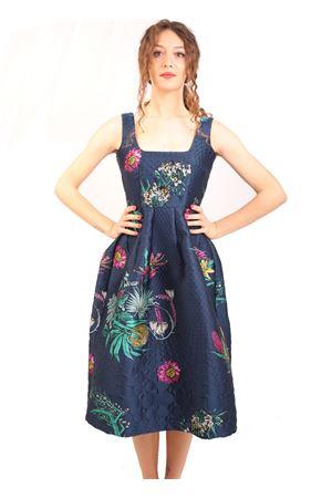 Blue jacquard dress with floral pattern Laboratorio Capri | 5032262 | CERTOSABLU