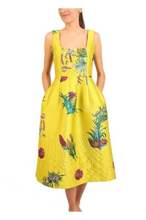 Yellow jacquard dress with floral pattern Laboratorio Capri | 5032262 | CERTOSAGIALLO