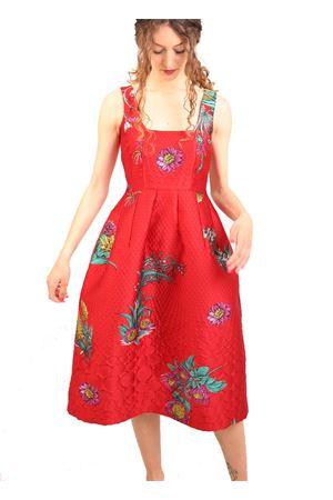 Red jacquard dress with floral pattern Laboratorio Capri | 5032262 | CERTOSAROSSO