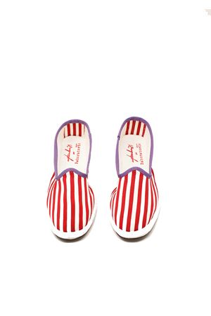 friulane model women shoes with white and green stripes Laboratorio Capri | 12 | KIMIBIANCORED