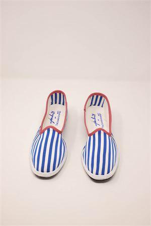 friulane model women shoes with white and light blue stripes Laboratorio Capri | 12 | KIMIRIGAAZZURRA