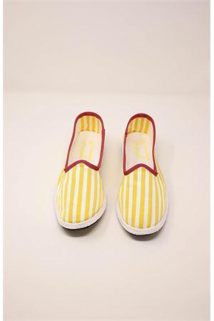 friulane model women shoes with white and yellow stripes Laboratorio Capri | 12 | KIMIRIGAGIALLA