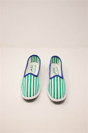 friulane model women shoes with white and green stripes Laboratorio Capri | 12 | KIMIRIGAVERDE
